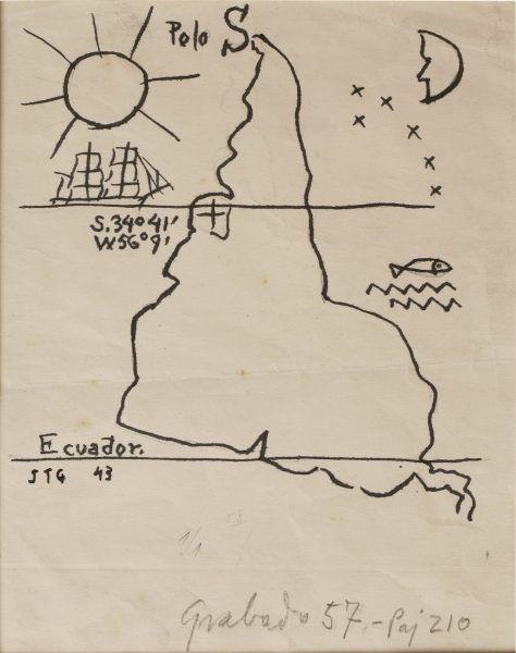 Joaquín Torres-García, América invertida, 1943, tinta sobre papel, 22 x 16 cm. Museo Torres García, Montevideo. © Sucesión Joaquín Torres-García, Montevideo 2015