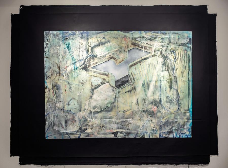 Diego Santa María, Borde y vacío, 2016, óleo y esmalte sobre tela, 216 x 166 cm. Cortesía del artista y Galería NAC