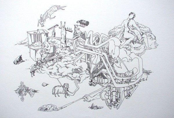 Vicente-Cociña-dibujo-de-la-serie-Ceropuntoseis-Ceropuntoocho-32-2013-lápiz-tira-línea-sobre-papel-91-x-71-cm-con-marco.-Cortesía-del-artista-600x408