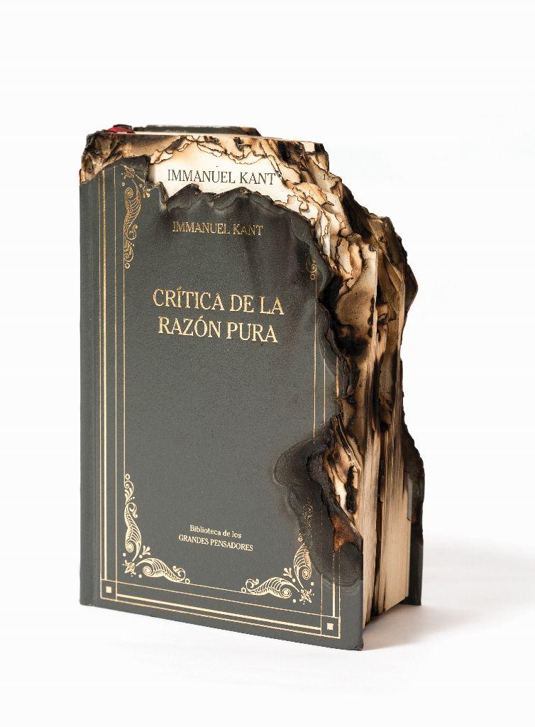 Horacio Zabala, Crítica de la razón pura (Immanuel Kant), 2014, libro quemado, 22 x 15 x 15 cm. Colección del artista. Cortesía: Estudio Giménez-Duhau