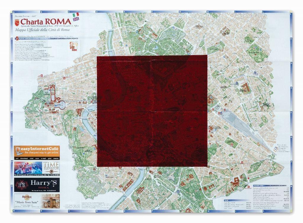 Horacio Zabala, Monocromos sobre ciudades, 2011 - 2015. Detalle: Roma. Tinta gráfica sobre mapas impresos. Dimensiones variables. Colección del artista. Foto: Estudio Giménez-Duhau