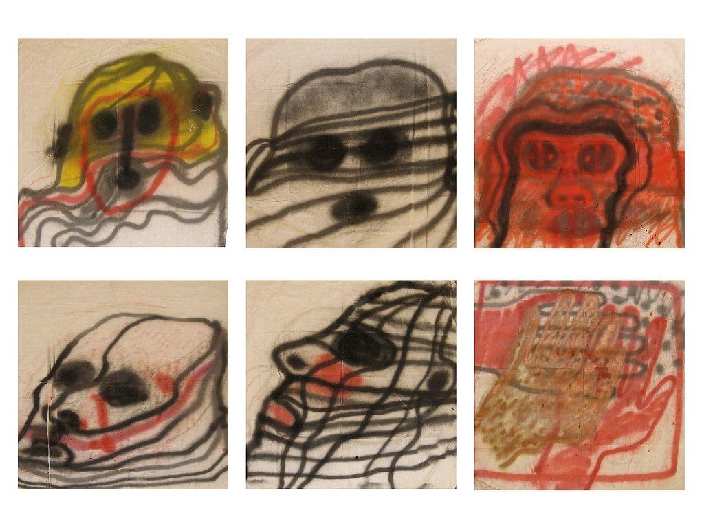 Clorindo Testa, Tendederos de la peste, 1979, aerosol sobre tela, 100 x 100 cm cada tela. Cortesía: Galería Jacques Martínez