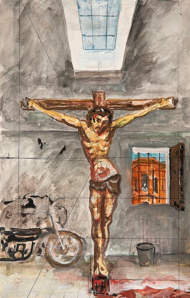 Antonio Berni, Apunte para Cristo en el Garage, c.1980, técnica mixta sobre papel, 34 x 22,5 cm. Cortesía: Cosmocosa