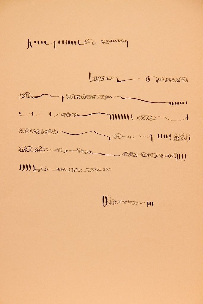 Mirta Dermisache, Sin título, c.1970, tinta sobre papel. Cortesía: Henrique Faría