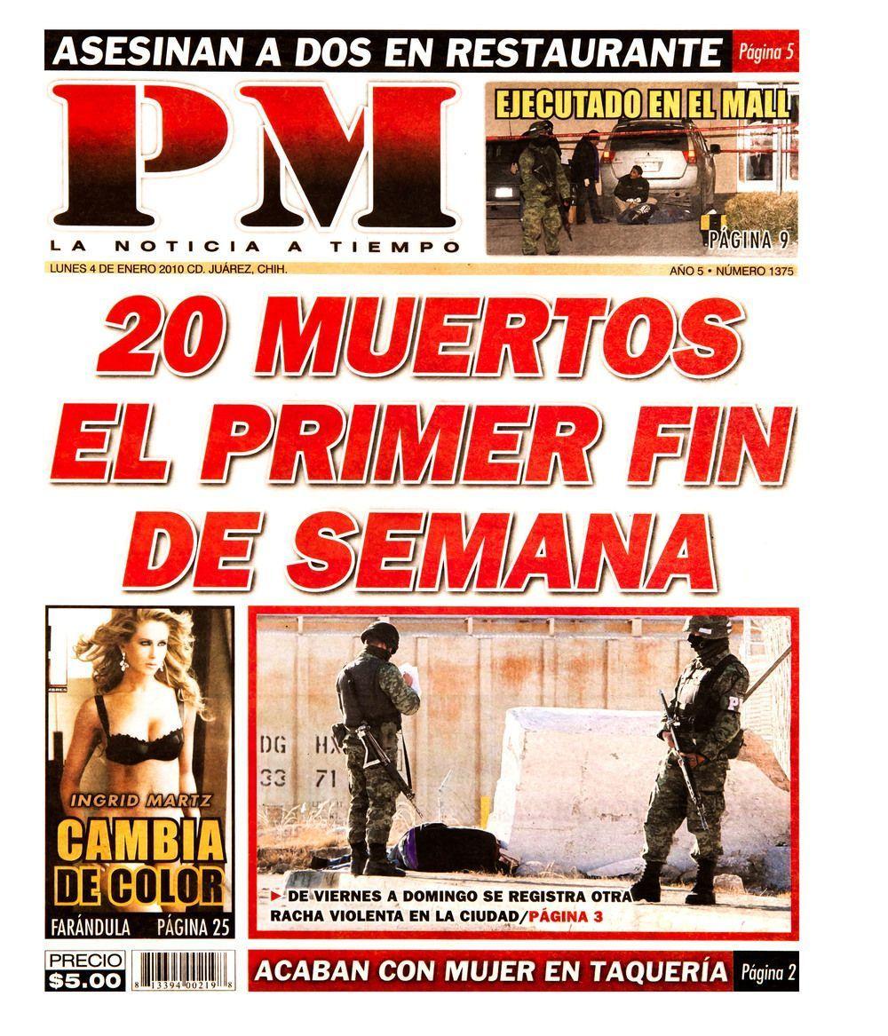 Teresa Margolles, PM 2010 (2012), instalación que compila las imágenes de portadas de periódicos PM de Ciudad Juárez publicados en 2010, 34.9 x 29.9 cm. Cortesía de la artista y Galerie Peter Kilchmann, Zurich