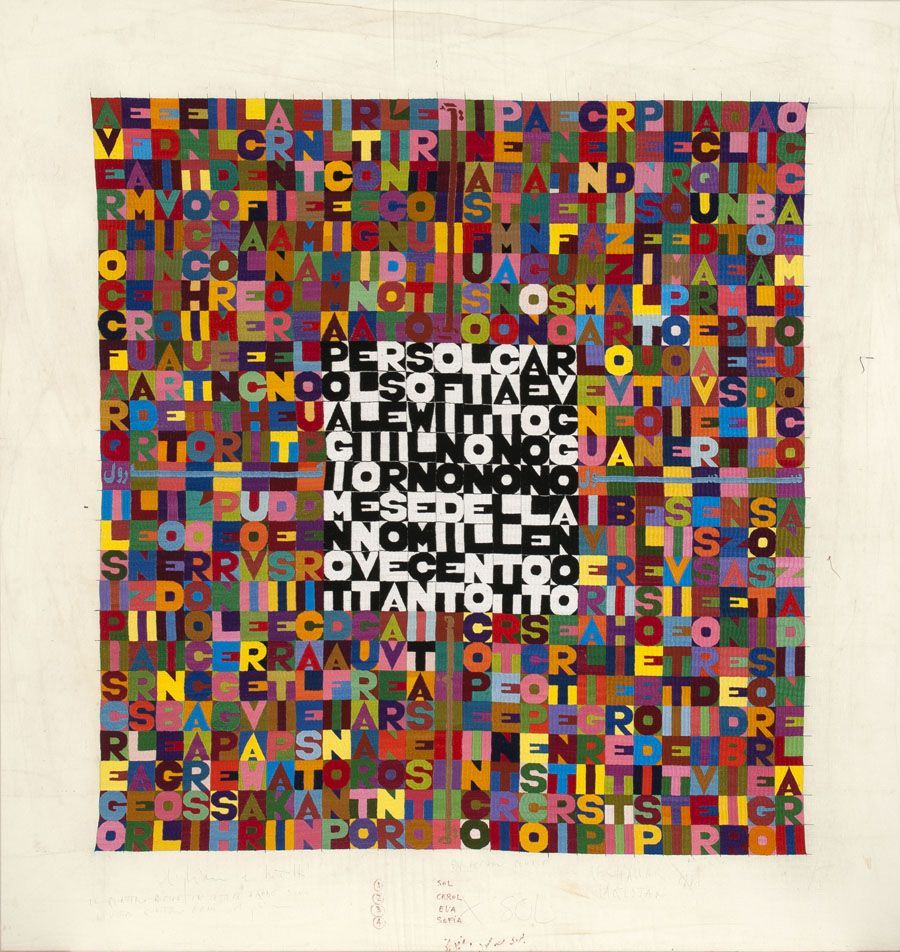 Alighiero Boetti, Per Sol, Carol, Sofia, Eva LeWitt, Oggi il nono giorno nono mese dell'anno mille novecento ottantotto (For Sol, Carol, Sofia, Eva LeWitt, Today the ninth day of the ninth month of the year nineteen hundred and eighty-eight), 1988, bordado sobre tela. Colección LeWitt, Chester, CT. © 2016 Artists Rights Society (ARS), New York / SIAE, Roma