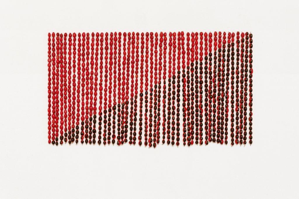 Rometti Costales (Niza, 1975 / Minsk, 1974), Le drapeau de l'Anarquismo Mágico, 2013, semillas de huayruro, alambre de cobre, 44 x 30 cm. Colección Kadist art foundation, París.