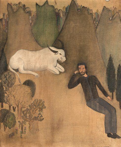 El-búfalo-blanco-el-anhelo-indomeñable-de-llegar-a-la-ciudad-tibetana-de-lo-estelar-donde-el-hombre-conversa-con-el-búfalo-blanco-José-Lezama-Lima-53.3x66.5cm.-l969