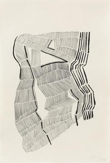 Gego, Sin título,1958, timta sobre papel, 21.6 x 14.3 cm. © Fundación Gego. Cortesía de la galería