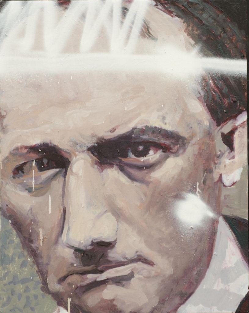 Natalia Babarovic, La Voluntad (retrato de Baudelaire), 2016, óleo, acrílico y spray sobre tela, 50 x 65 cm. Cortesía: Galería XS