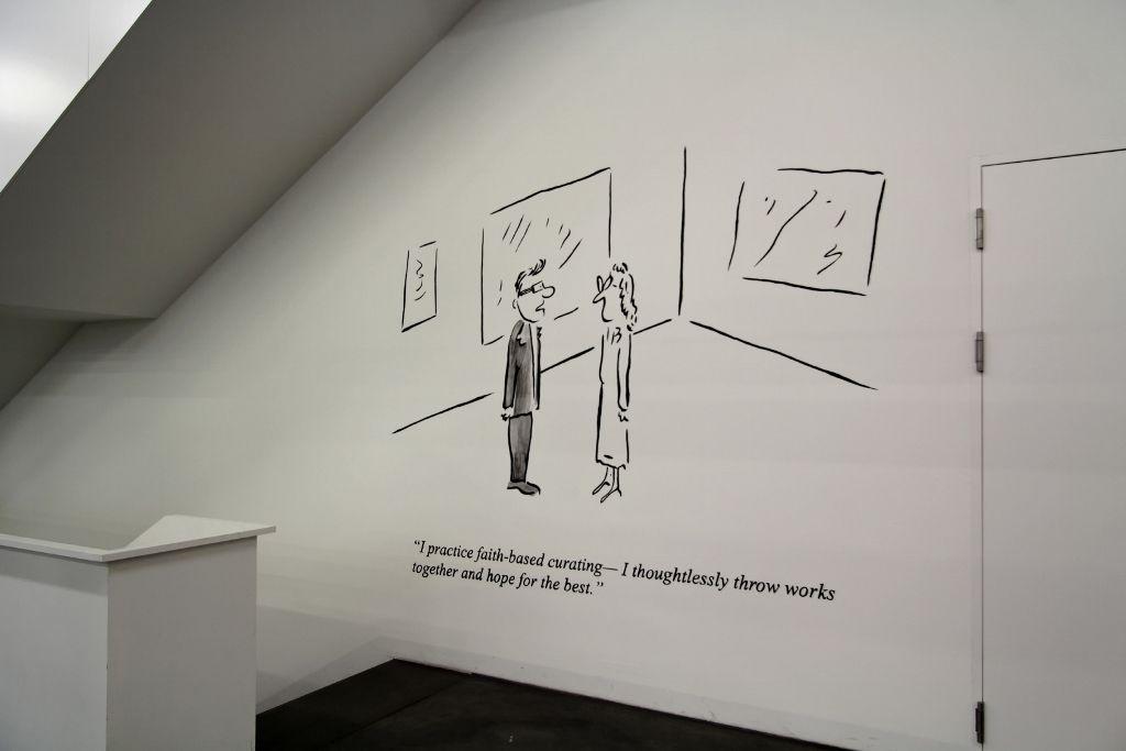 Pablo Helguera, Artoons, vista de la instalación en el Löwenbräukunst, Zürich. Foto: (c) Manifesta11/Wolfgang Traeger