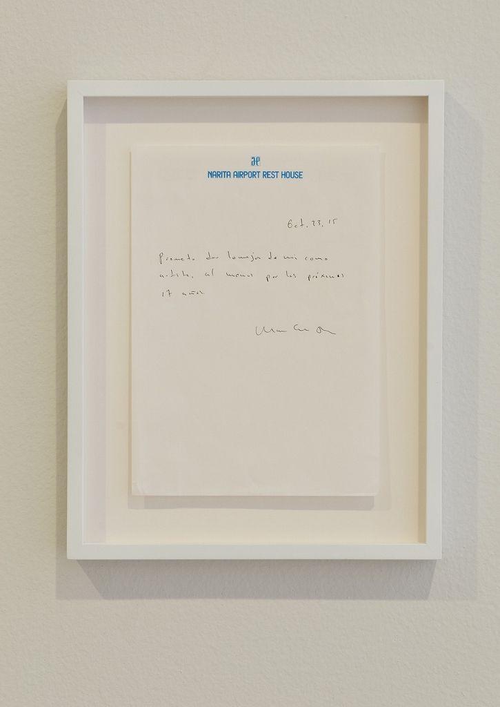 Mario García Torres, Prometo..., 2015. Tinta sobre papel, 28 x 21.5 cm. Centre National des Arts Plastiques, París. (Fotografía cortesía Museo Tamayo)