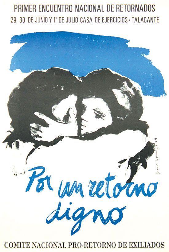 Por un retorno digno, imagen central de Gracia Barrios, 1989, offset, 36 x 54 cm.
