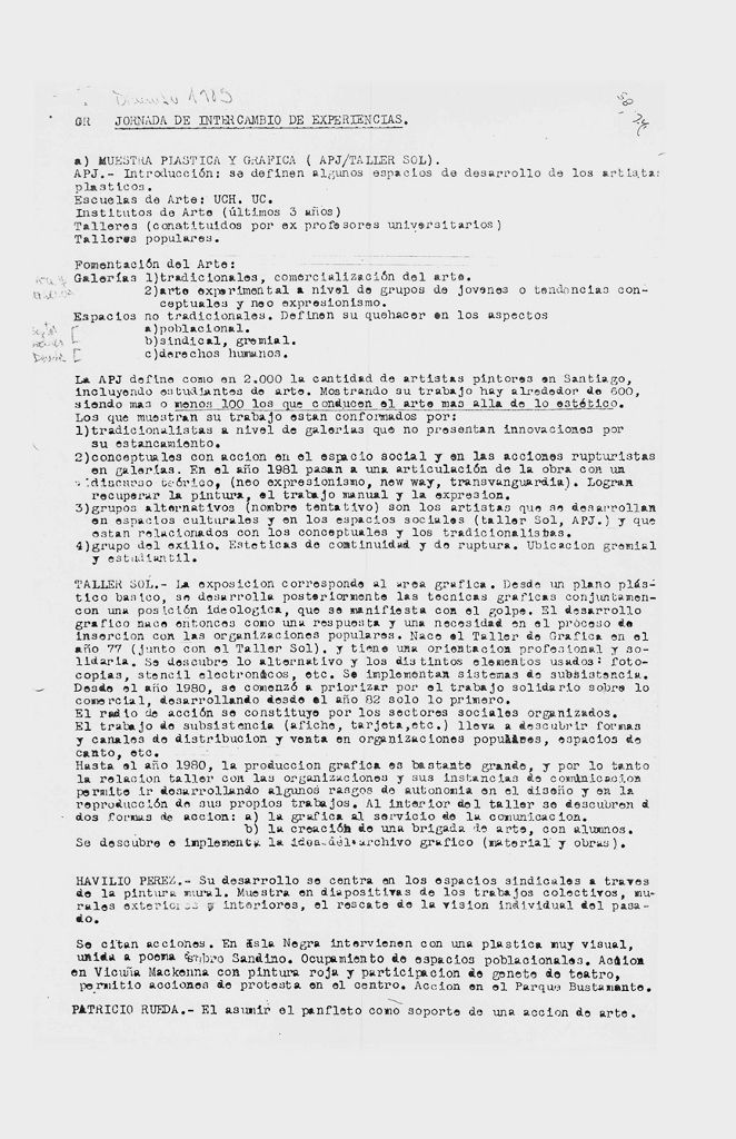 Acta de la Jornada de Intercambio de Experiencias entre la APJ y el Tallersol en diciembre de 1985