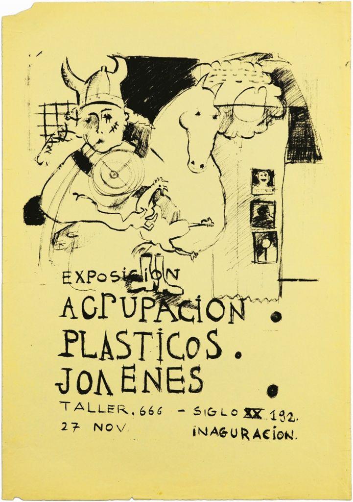 Afiche Exposición Agrupación Plásticos Jóvenes, APJ, Sammy Benmayor y Jorge Tacla, 1979, serigrafía, 50 x 72 cm.