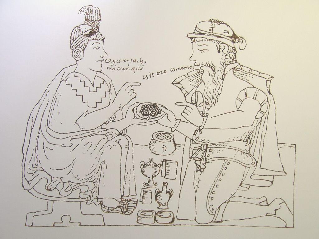 Estefanía Peñafiel Loaiza (Quito, 1978), Une certaine idée du paradis 1. Este oro comemos (d'après Guamán Poma de Ayala), detalle, 2006, dibujo mural, chocolate suizo, cacao ecuatoriano, dimensiones variables