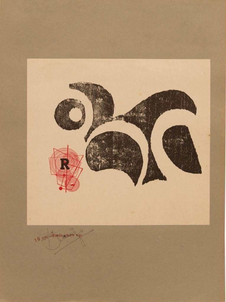 Edgardo Antonio Vigo, Sin título, xilografía sobre papel,1959. Cortesía: MAMBA