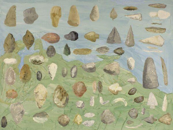Christian-Vinck.-Puntas-de-flechas-piedras-y-plomo_455-x-60-cm_2014_Oleo-sobre-lienzo