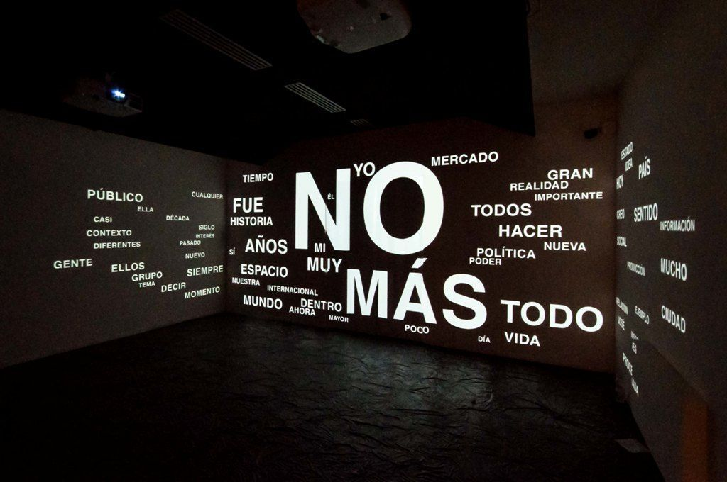 Ernesto Leal, Word Cloud: Which are the most repeated words in Cuban art?, 2014, video-proyección. Foto: Annamaria La Mastra