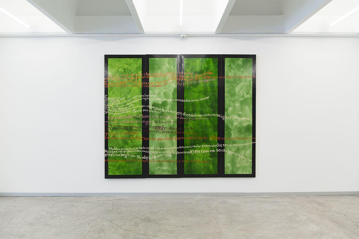 José Luis Sánchez Rull, Cartas encendidas (políptico) (de la serie Yoshitoshi), 2014. Óleo sobre tabla. Cortesía: ESPAC