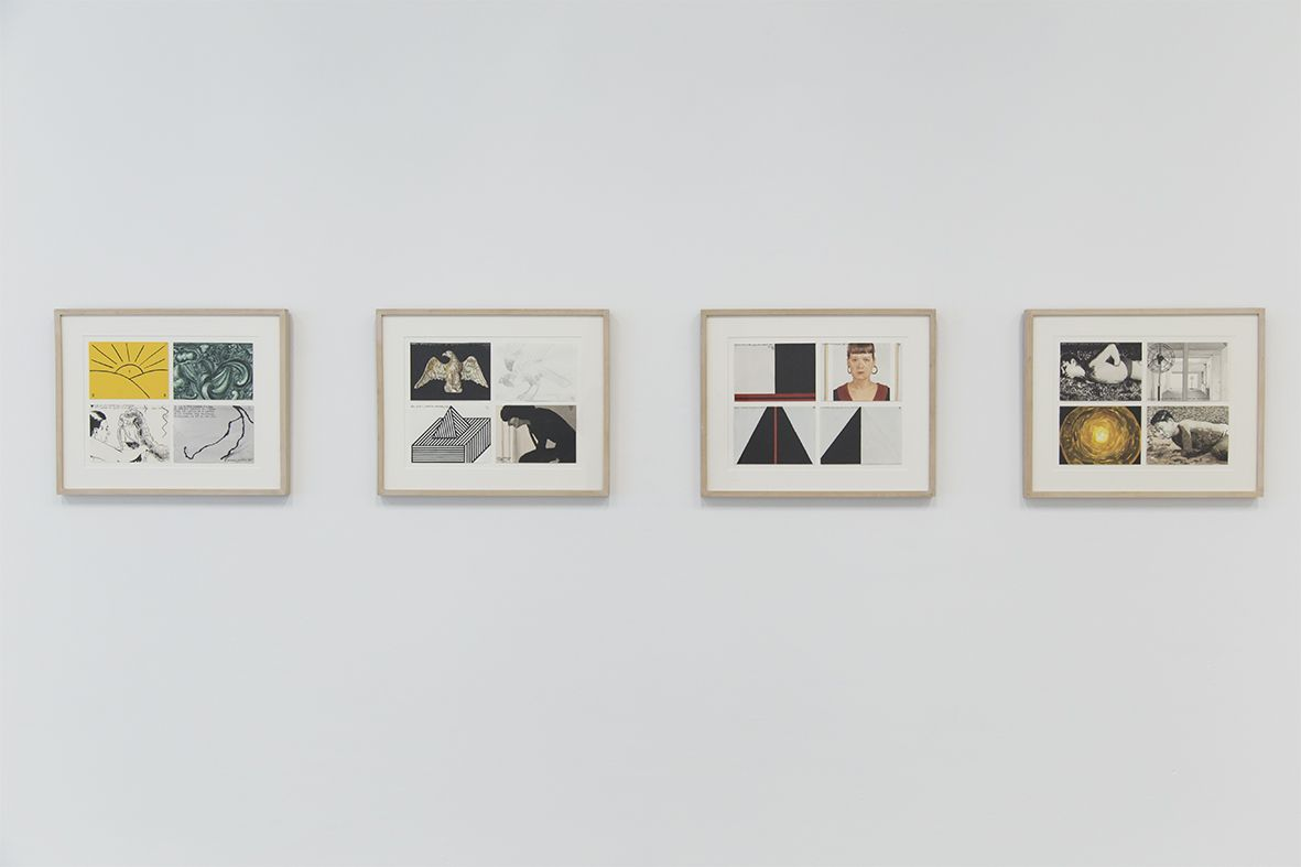 Marco Arce, If it gets cold it dies, 2000; Two fans, 1999; Isometric drawing, 2000; Black and white portrait, 1999. Acuarela sobre papel. Cortesía: ESPAC