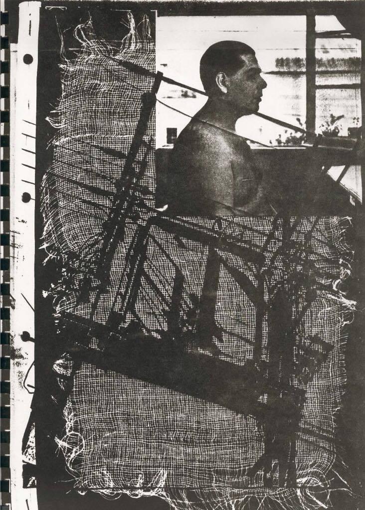 Carlos Leppe. Retrato n°5, de la serie Proyecto de Asfixia. Imágen correspondiente al catálogo: Reconstitución de escena. Galería Cromo, Santiago, Chile, 1977.