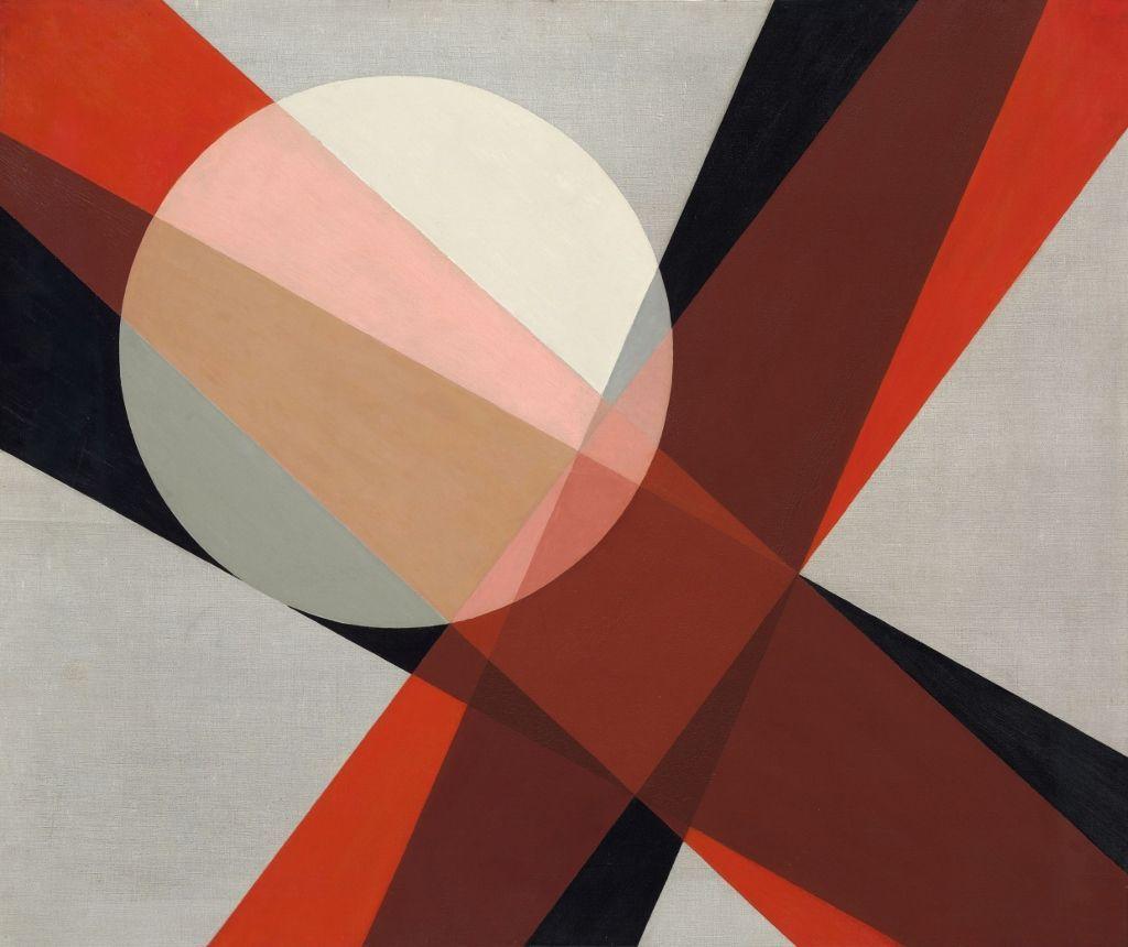 László Moholy-Nagy, A 19, 1927, óleo y grafito sobre tela, 80 x 95.5 cm. Hattula Moholy-Nagy, Ann Arbor, MI © 2016 Hattula Moholy Nagy/VG Bild-Kunst, Bonn/Artists Rights Society (ARS), New York