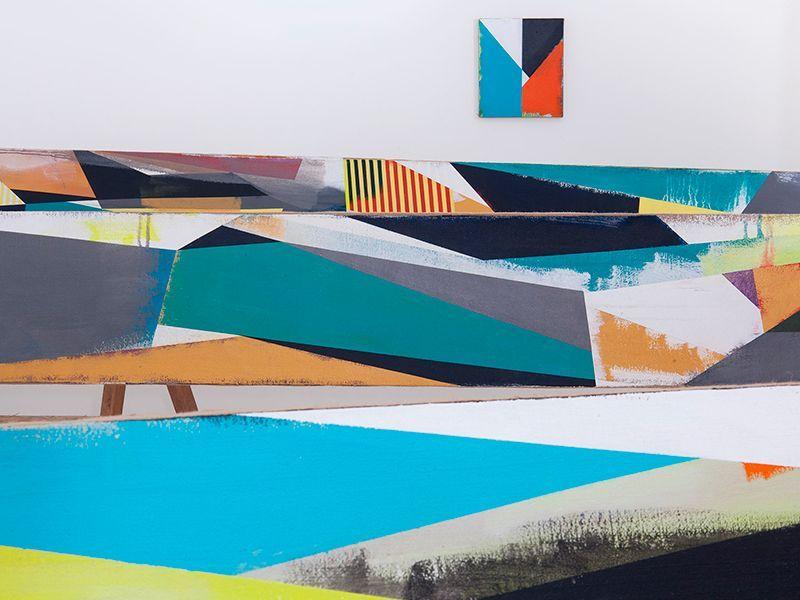 Jaime Gili, Derechos, 2015. Acrílico sobre yute y madera. Dimensiones variables. En Bis Oficina de Proyectos