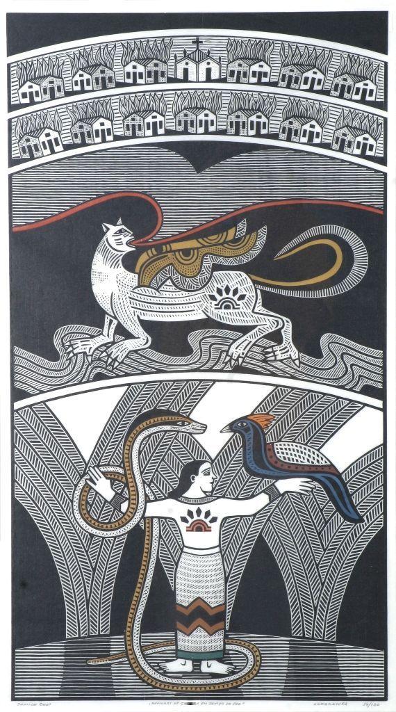 Gilvan Samico, Rumores de Guerra en Tiempos de Paz, 2001. Xilograbado. 91,5 × 50,5 cm. Colección Museu de Arte Moderna Aloisio Magalhães ¬ MAMAM.