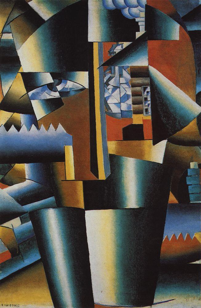 Kazimir Malevich, Composición con La Gioconda (Augurio parcial), 1914. Óleo, grafito y collage sobre tela 62,5 x 49,3 cm. Colección del State Russian Museum de San Petersburgo