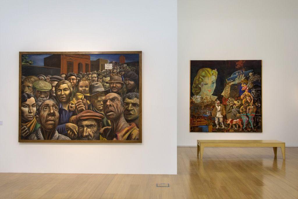 Antonio Berni. A la izq.: Manifestación, 1934. A la der.: La Gran Tentación,1962. Vista de la exposición Verboamérica, en el MALBA, 2016. Foto: Pablo Jantus