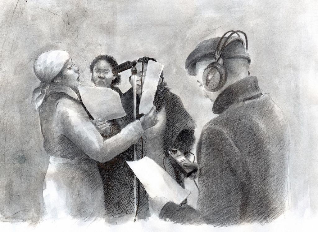 Ilustración de María Elena Cárdenas. Tres mujeres interpretando las tres versiones de La Marsellesa en español (reproducidas en la muestra), 2016. Cortesía de la autora y del artista