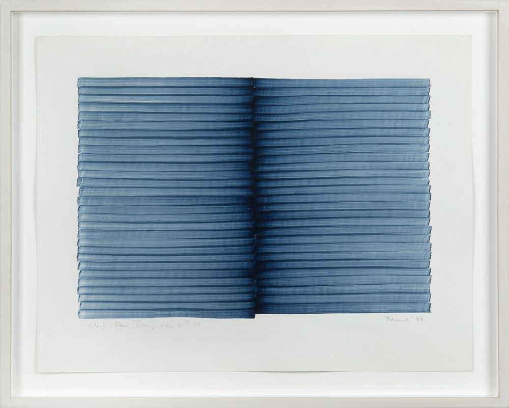 Irma Blank, Radical Writings, Schrift-Atem-Übung 8-9-88, 1988, acrílico sobre tarjeta, 25 x 32 cm. Cortesía: Galleria P420 (Boloña, Italia)