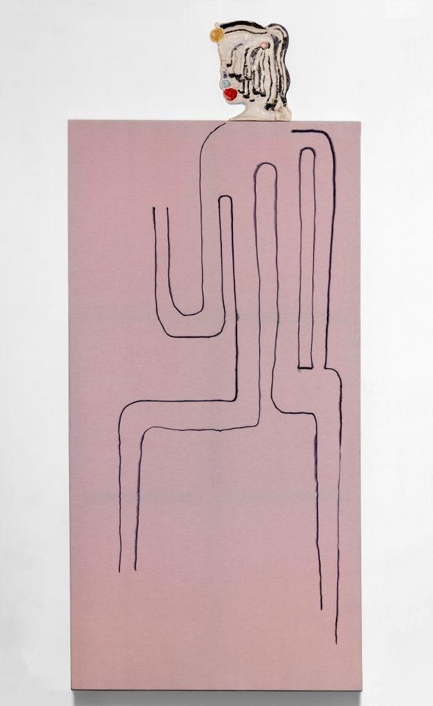 Juan Tessi, nt5gst6Uye1tn7avwo1_500, marcador indeleble, alcohol, gross, gabardina y cerámica,108 x 240 cm, 2015. En Nora Fisch