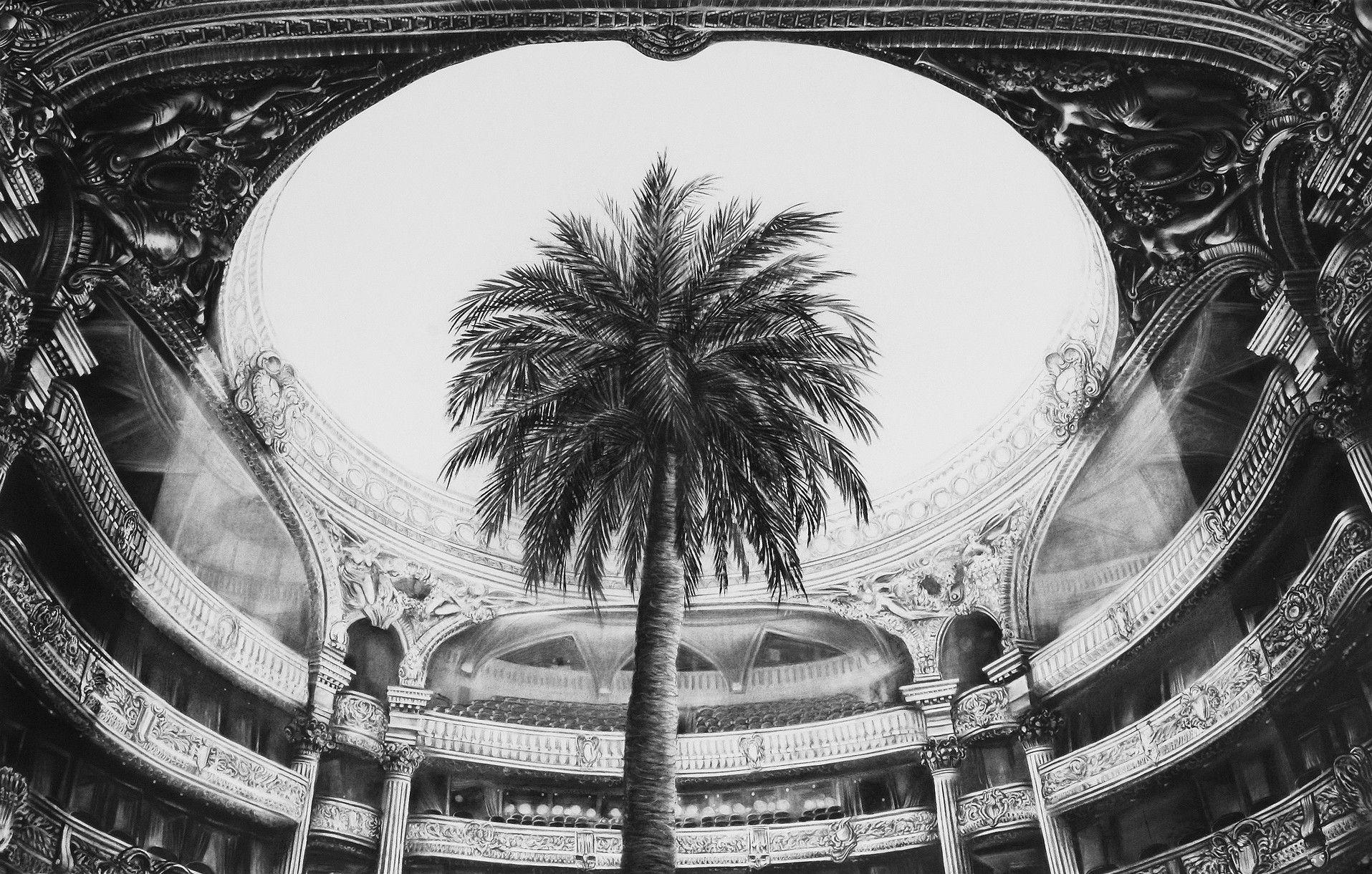 Gonzalo Fuenmayor, Tropical Elegance, 2015, carboncillo sobre papel, 42 x 66 pulgadas. Cortesía del artista