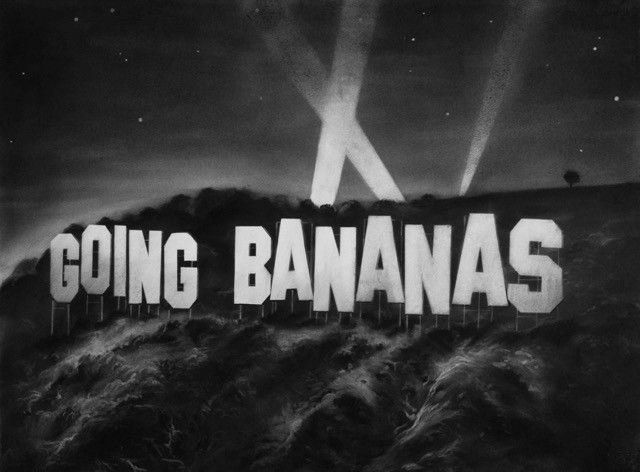 Gonzalo Fuenmayor, Going Bananas, 2016, carboncillo sobre papel, 20 x 40 pulgadas. Cortesía del artista