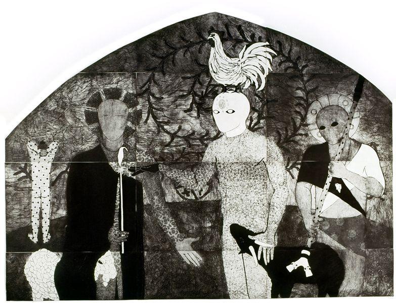 Belkis Ayón, La consagración I, 1991 , colografía. Colección Belkis Ayón Estate. Cortesía: Fowler Museum, Los Angeles, 2016.