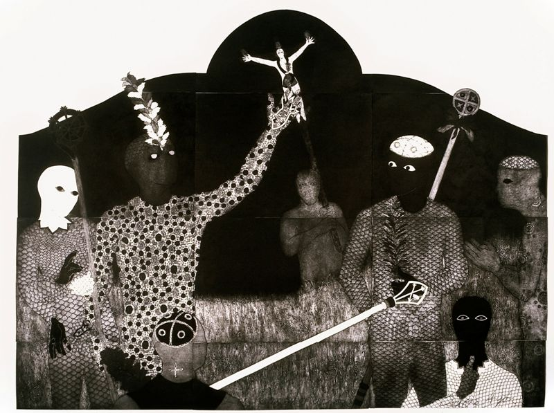 Belkis Ayón, La consagración III, 1991, colografía. Colección Belkis Ayón Estate. Cortesía: Fowler Museum, Los Angeles, 2016