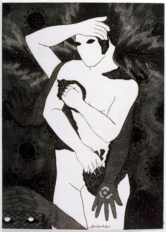 Belkis Ayón, Arrepentida, 1993, colografía. Colección Belkis Ayón Estate. Cortesía: Fowler Museum, Los Angeles, 2016.