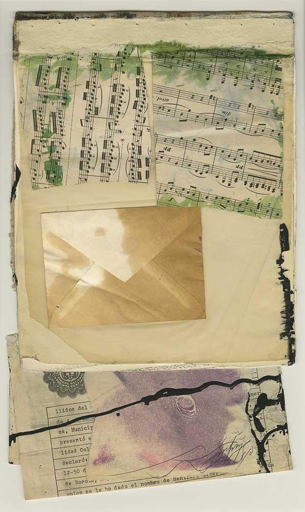 Santiago Rebolledo, Sin Título, técnica mixta (collage a partir de diversos papeles y pintura), 39 x 23 cm., 1978. Cortesía: Instituto de Visión, Bogotá, 2016
