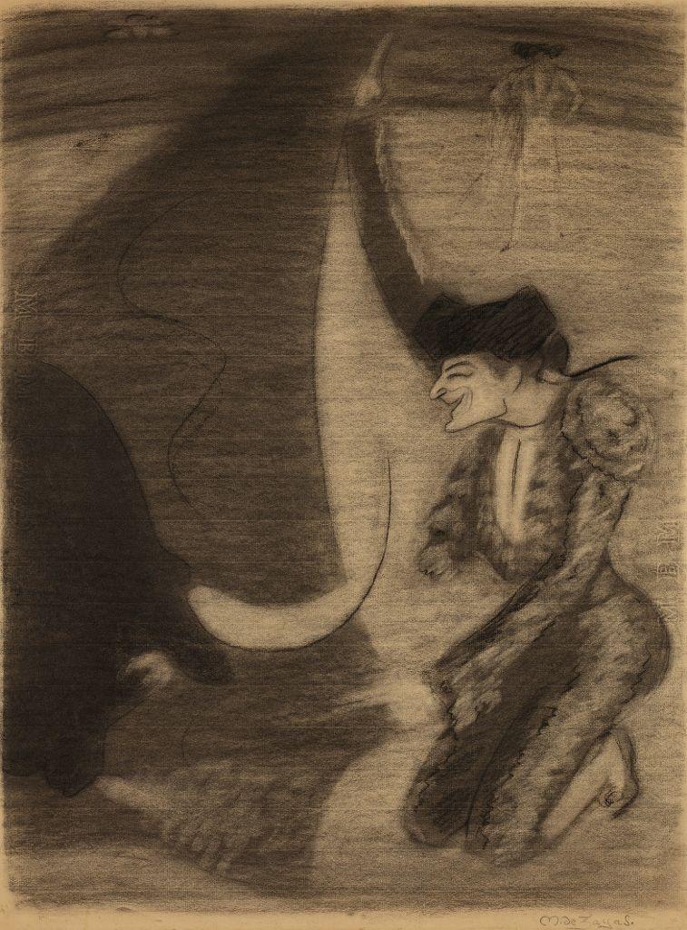 Marius de Zayas, Bombita a portagayola, 1906. Carboncillo sobre papel. ©Colección Diéresis. Fotografía: Omar Olguin