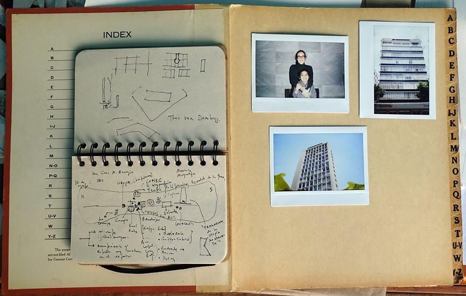 Sketch para un mapa de arquitectura modernista de Quito. Fabiano Kueva y Ana Maria Duran Calisto, en un recorrido para Derivas. Cortesía: Museo Nómada