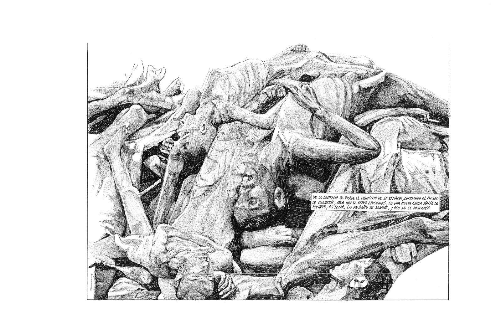 Javier Rodríguez, de la serie Malos, 18 láminas de 27 x 38 cm c/u, lápiz y tinta sobre papel. Cortesía del artista