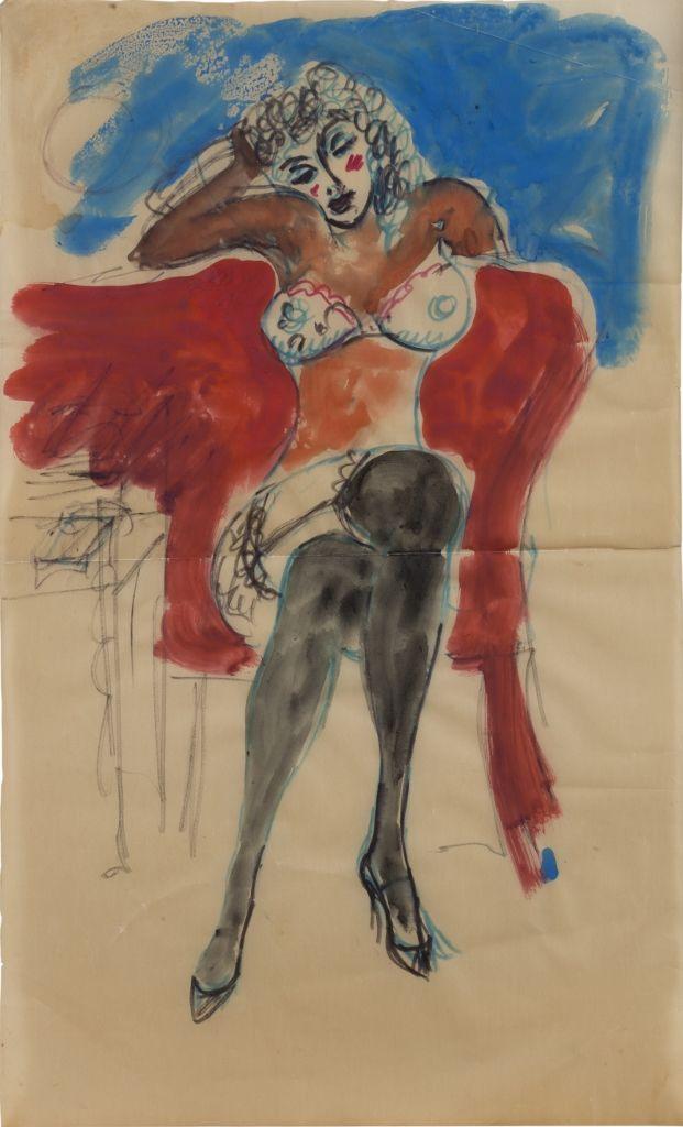 Antonio Berni. Sin título, sin fecha. Acuarela y marcador sobre papel. 41 x 25 cm. Colección privada, Buenos Aires. © José Antonio Berni y Luis E. De Rosa