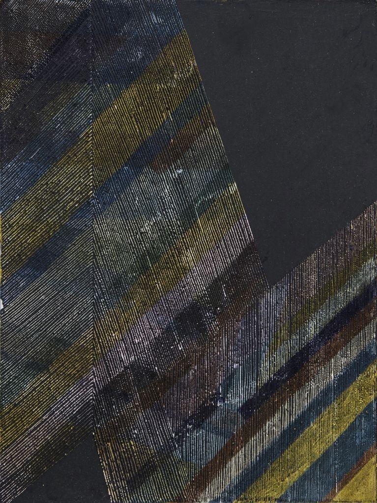 Colomba Fontaine, Cuadrillé, 2016, esmalte sintético y cera sobre aluminio. Cortesía de la artista