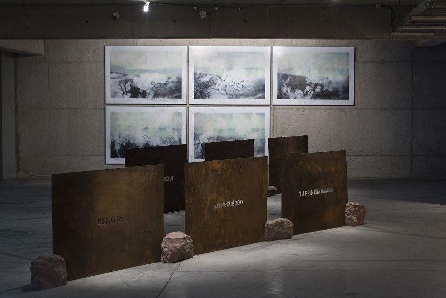 Sebastián Leal, Abstracción I, planchas de fierro caladas, expuestas a la intemperie por seis meses en Playa Chica, Niebla, Valdivia, 2016. Cortesía del artista. Foto: Jorge Brantmayer