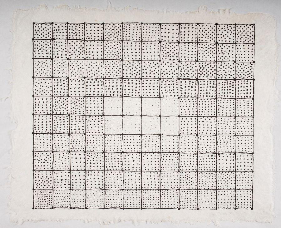 Sheroanawë Hakihiiwë, Hetu misi shitikaripi - El cielo está estrellado, 2014, acrílico sobre papel artesanal de fibras naturales. Foto: Ricardo Jiménez