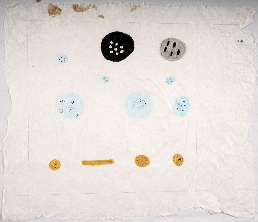 Sheroanawë Hakihiiwë, Huevos de insectos, mosquitos y sapos, 2014, acrílico sobre papel artesanal de fibras naturales. Foto: Ricardo Jiménez