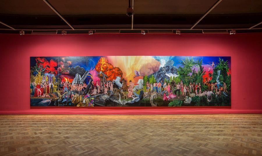 """Vista de la exposición """"Historia violenta y luminosa"""", de José Pedro Godoy, en el MNBA, Santiago de Chile, 2016-2017. Cortesía del artista"""