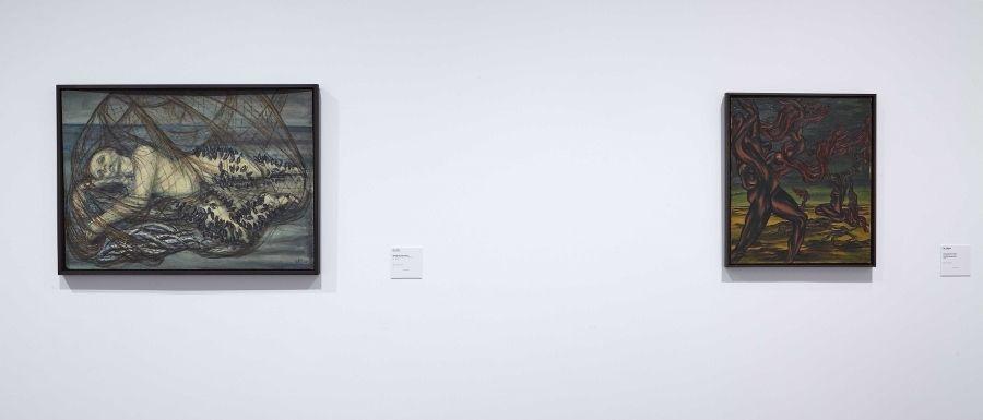 Vista de sala de la exposición Art et Liberté. Ruptura, guerra y surrealismo en Egipto (1938-1948). Cortesía: Archivo Fotográfico Museo Reina Sofía, 2017